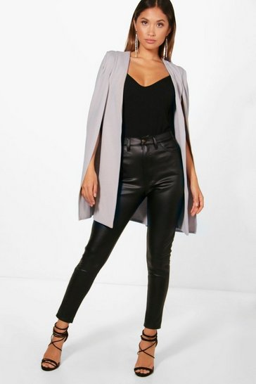 Womens Dove Longline Tailored Crepe Cape