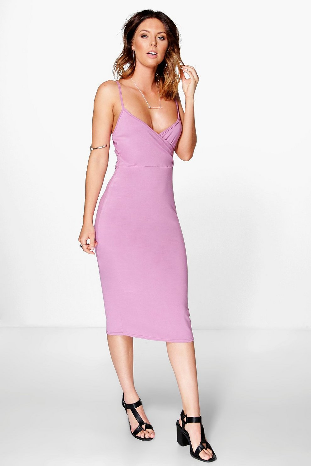 1d16a10426 Womens Mauve Margot Basic Wrap Midi Dress