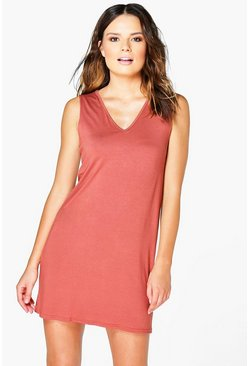 Womens Cinnamon Immie Basic V Neck Shift Dress