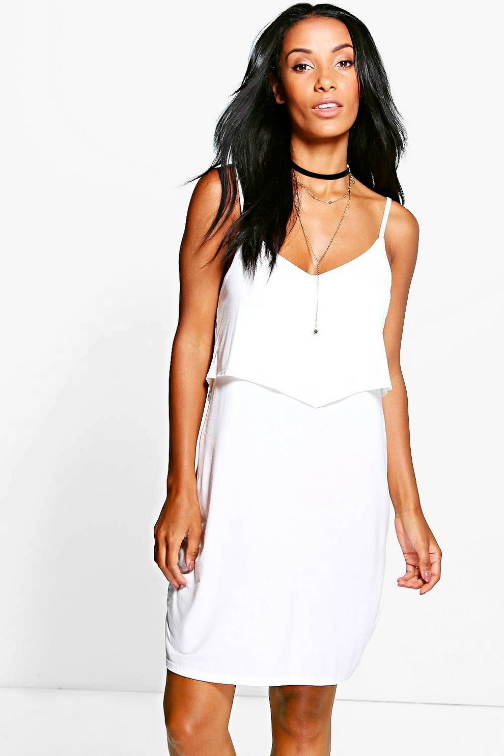 383067a157f3d Paige Strappy Cami Overlay Skater Dress | Boohoo