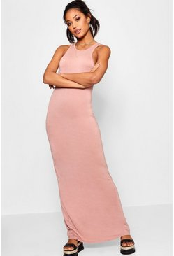 Womens Antique rose Basic Racer Front Maxi Dress