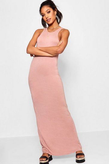 Antique rose Basic Racer Front Maxi Dress