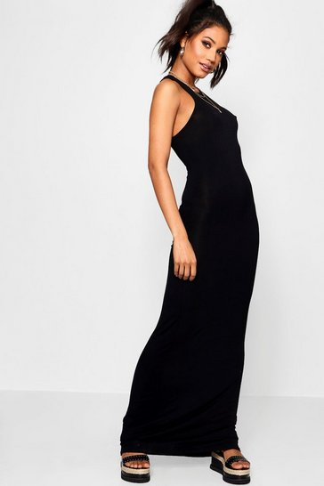 Womens Black Basic Racer Front Maxi Dress