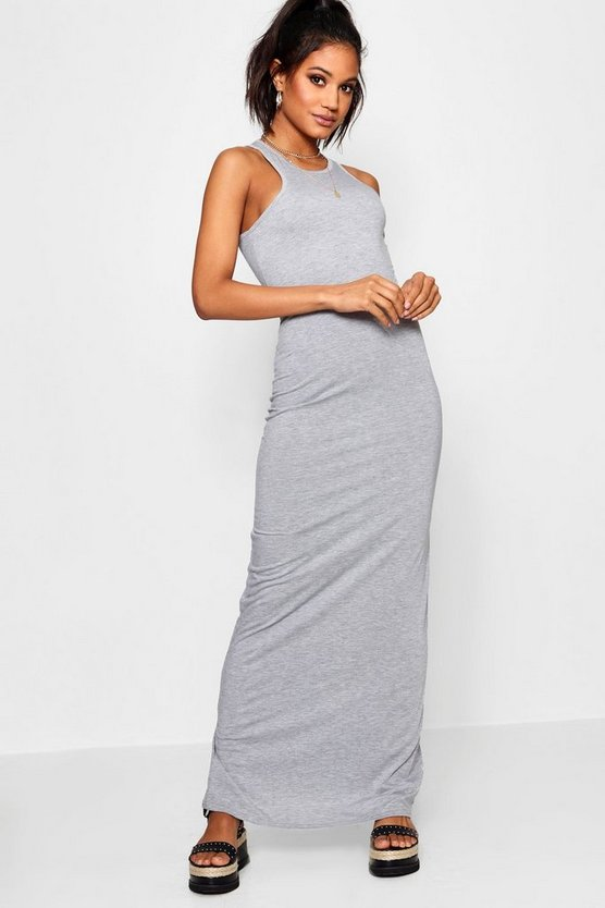 Womens Grey marl Basic Racer Front Maxi Dress
