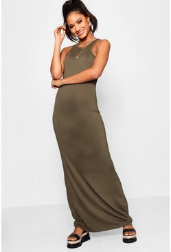 Womens Khaki Basic Racer Front Maxi Dress