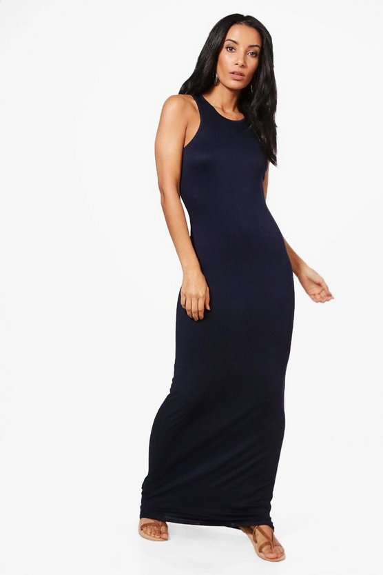 Midnight Basic Racer Front Maxi Dress