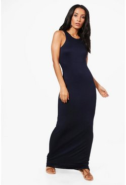 Womens Midnight Basic Racer Front Maxi Dress