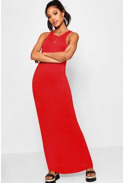 Red Basic Racer Front Maxi Dress