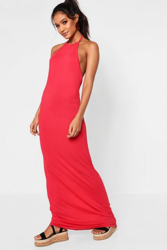 Red Basic 90s Neck Maxi Dress