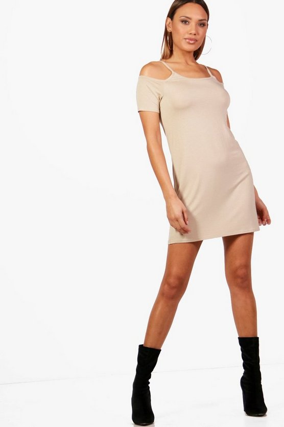 Basic Cold Shoulder Shift Dress