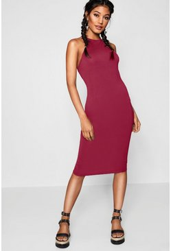 Womens Berry Basic 90s Neck Midi Dress
