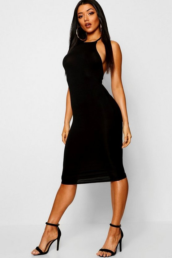 Womens Black Basic 90s Neck Midi Dress