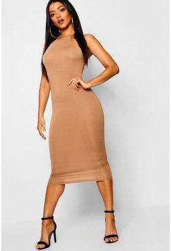 Womens Camel Basic 90s Neck Midi Dress