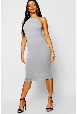 Womens Grey marl Basic 90s Neck Midi Dress