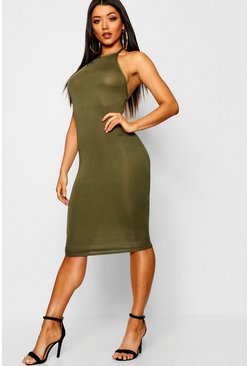 Womens Khaki Basic 90s Neck Midi Dress