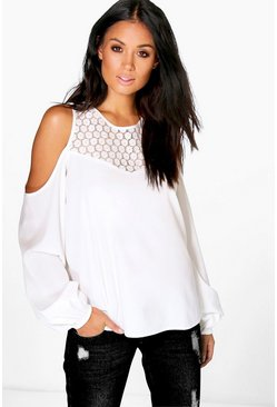 Womens Ivory Grace Lace Neck Cold Shoulder Woven Top