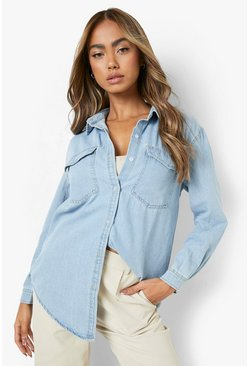 Womens Blue Oversize Bleach Wash Denim Shirt