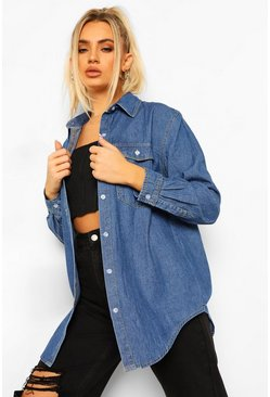 Womens Mid blue Oversized Denim Shirt