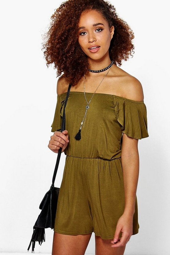 Womens Dark olive Ada Off The Shoulder Frill Sleeve Playsuit