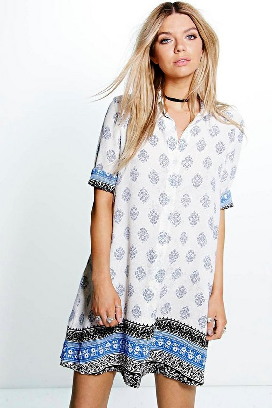 Tammy Paisley Border Print Shirt Dress