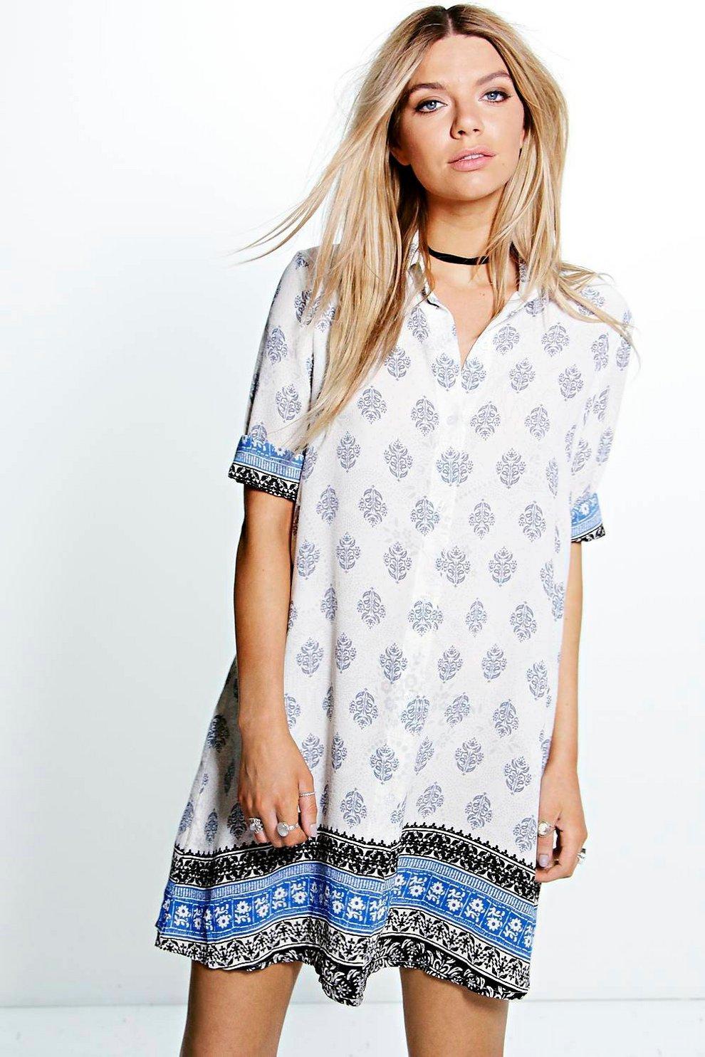 423fbdcb21cda Tammy Paisley Border Print Shirt Dress