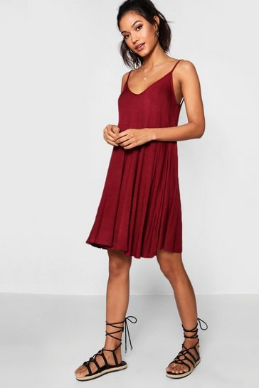 Womens Berry Basic V Neck Swing Dress