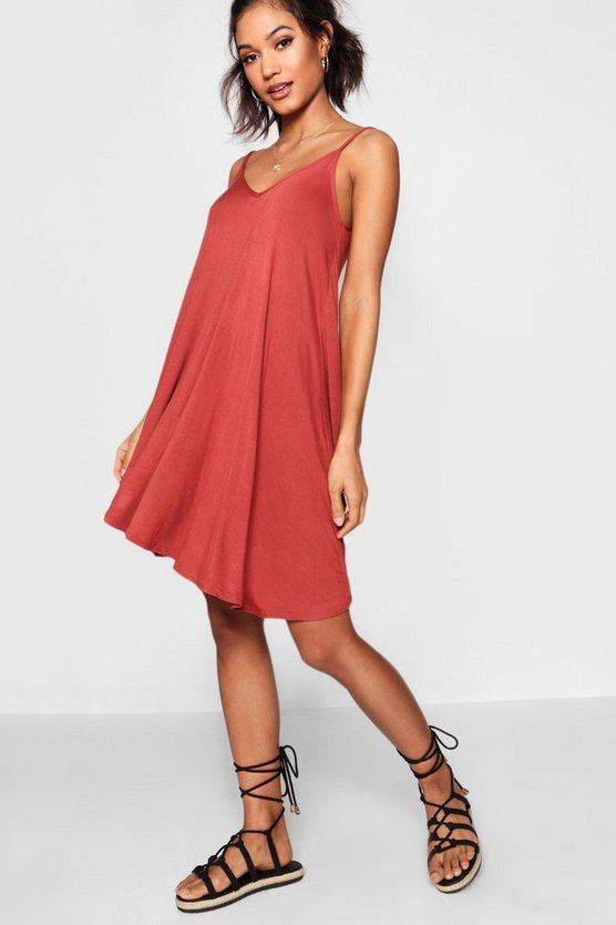 Womens Chestnut Basic V Neck Swing Dress