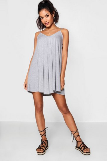 Grey marl Basic V Neck Swing Dress