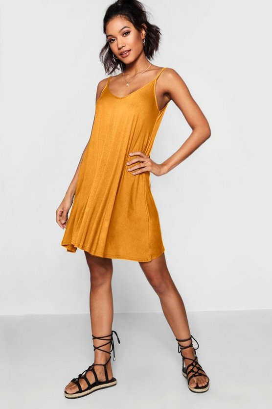 Womens Mustard Basic V Neck Swing Dress