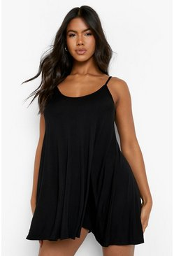 Womens Black Basic Swing Dress
