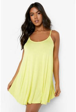 Womens Yellow Basic Swing Dress