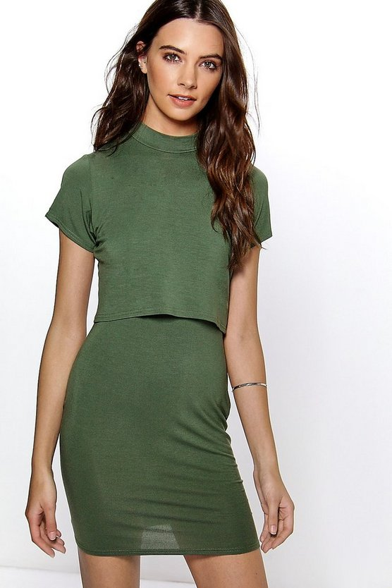 Khaki Basic High Neck Cap Sleeve Bodycon Dress