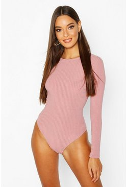 Womens Rose Crew Neck Knitted Bodysuit