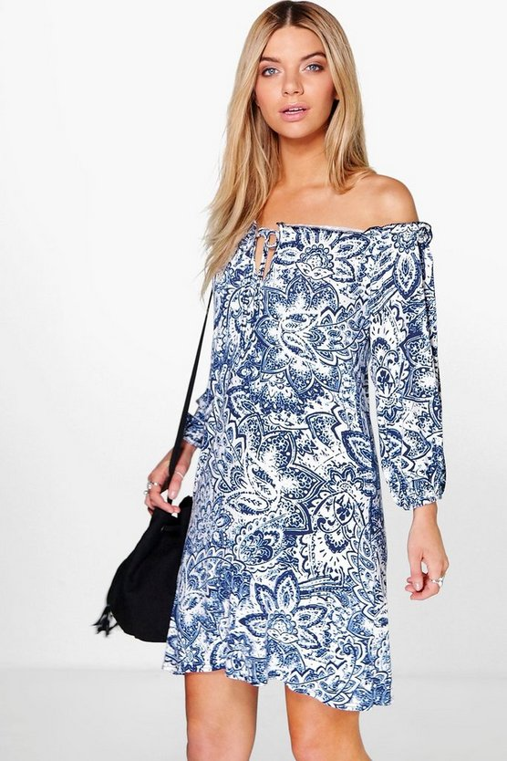 Emily Paisley Printed Shift Dress