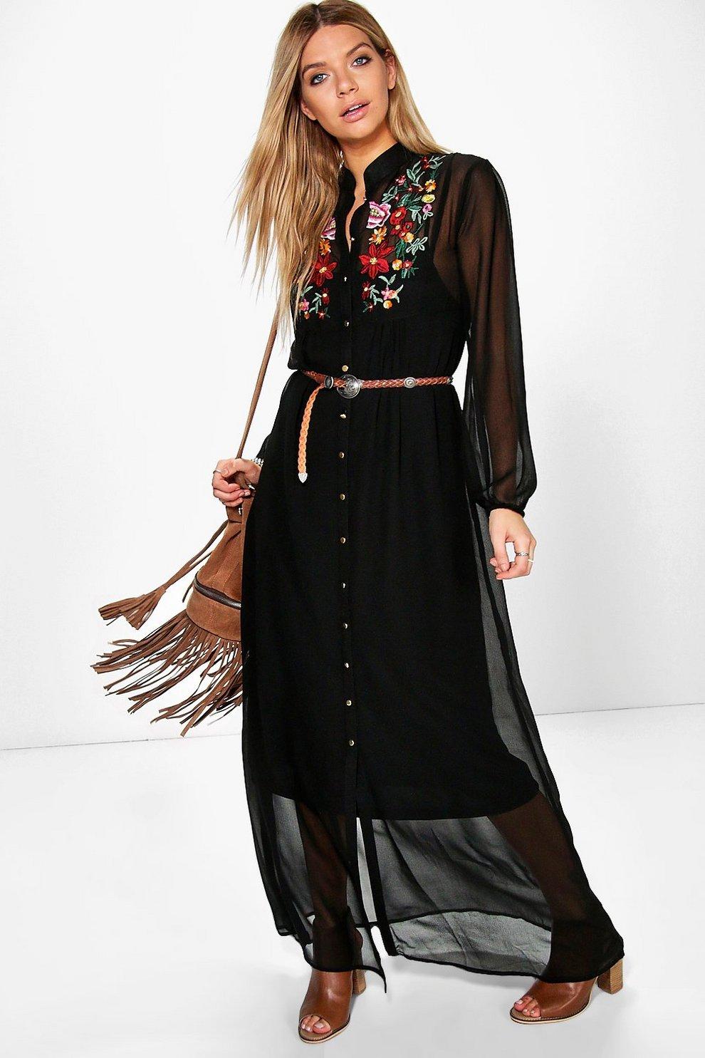e193d0472f63 Boutique Azra Embroidered Shirt Maxi Dress | Boohoo