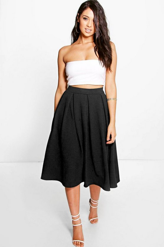 Elsa Full Textured Midi Skirt