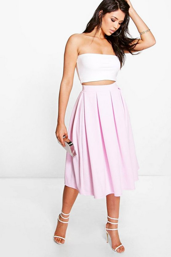 Full Textured Midi Skirt