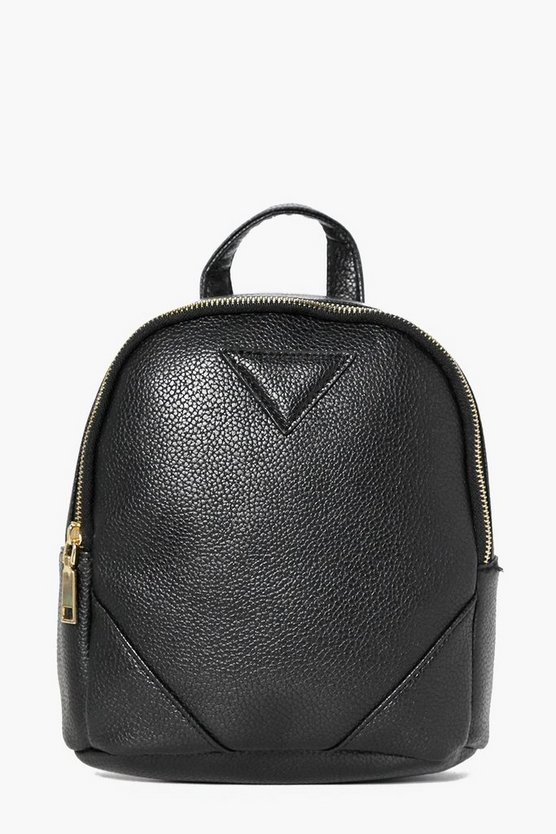 Womens Black Charlotte Zip Detail Mini Rucksack