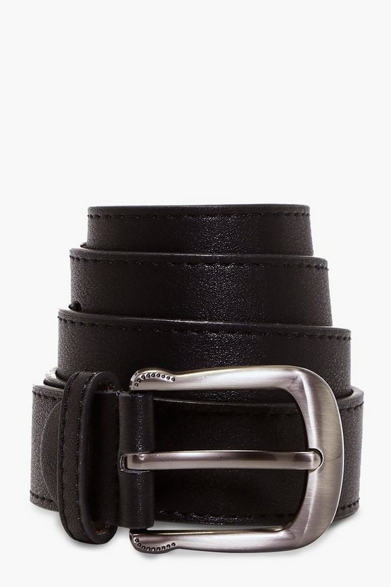 Womens Black Curved Buckle Boyfriend Belt