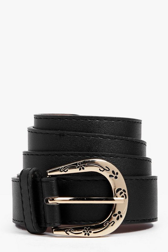 Womens Black Floral Buckle Boyfriend Belt