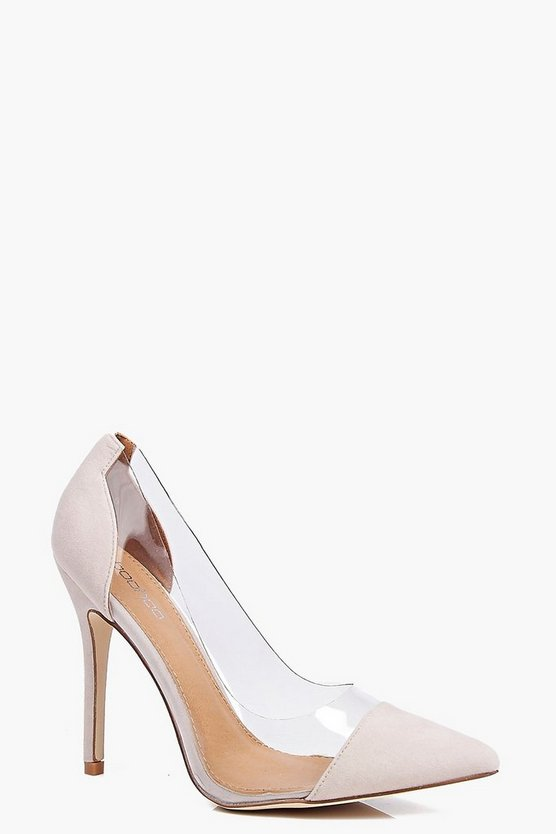 Womens Nude Lacey Clear Pointed Court