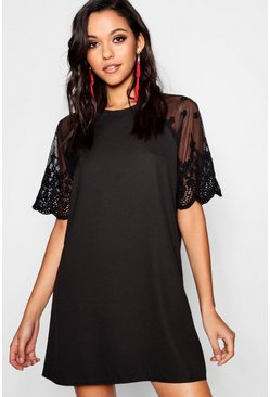 Womens Black Lace Sleeve Shift Dress