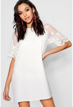 Womens White Lace Sleeve Shift Dress