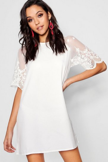 White Lace Sleeve Shift Dress
