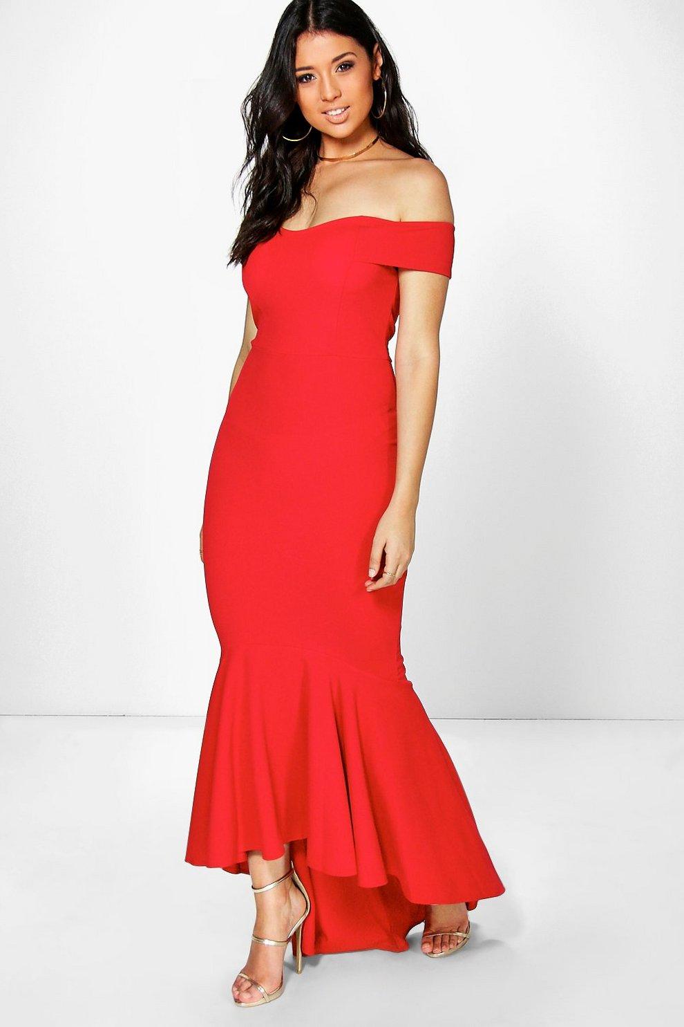 a9cb2d7c63e5e Boutique Open Shoulder Fishtail Maxi Dress | Boohoo