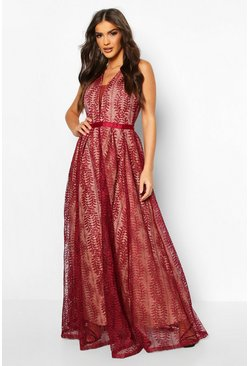Berry Boutique Lace Plunge Maxi Bridesmaid Dress