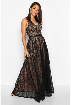 Black Boutique Lace Plunge Maxi Bridesmaid Dress