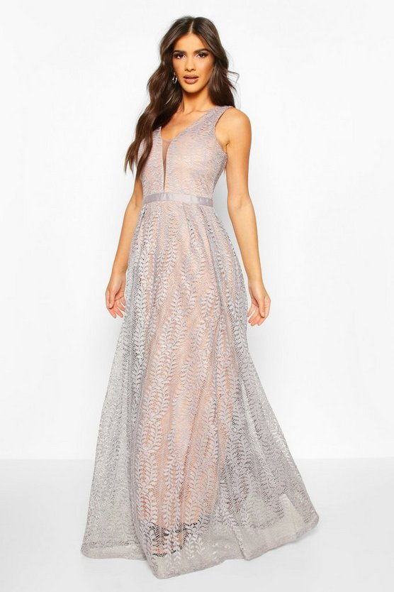 Boutique  All Lace Plunge Neck Maxi Dress