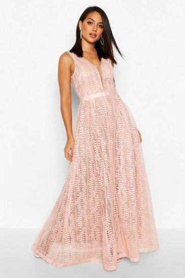 Pink Boutique  All Lace Plunge Neck Maxi Dress