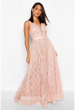 Womens Pink Boutique  All Lace Plunge Neck Maxi Dress
